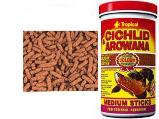 Корм для средних цихлид и арован Tropical Cichlid and Arowana medium St. 10L