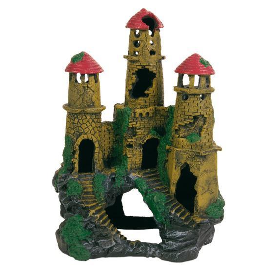 Декорация в аквариум - Крепость с тремя башнями 20см