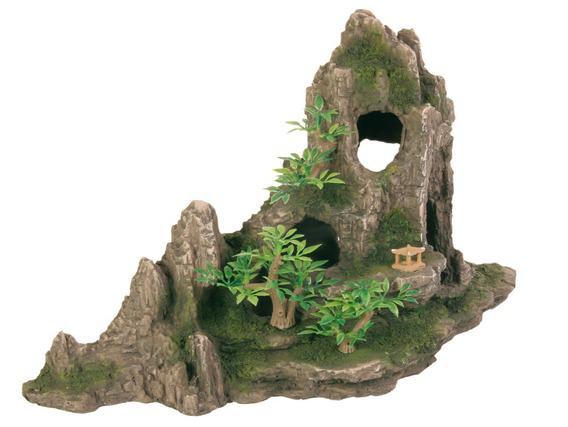 """Декорация в аквариум  """"Скала с пещерой и растением"""" 27*13*16"""