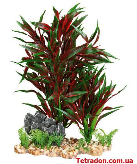 Растение в аквариум 28см красное