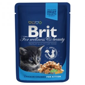 Brit Premium Кусочки с курочкой для котят